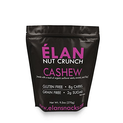 ELAN Roasted Organic Cashews Lightly Salted - Healthy Nut, Seed, Coconut and Ground Flax Granola Cereal - Paleo Trail Mix, Low Carb Camping Treats (9.5 Oz Travel Mini Bag)