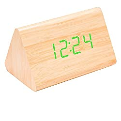 WOOD MEETS COLOR LED Wooden Digital Table Clock Voice Sound Control Creative Alarm Clock with Green Light Displaying Thermometer Table Clock USB/Battery Powered (Green light)