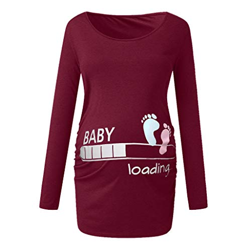 Maternity Baby is Loading Top T-Shirt,Crytech Pregnancy Comfy Soft Funny Cartoon 3/4 Long Sleeve Crew Neck Side Ruched T Shirt for Pregnant Women Winter Fall Cotton Clothes (Small, Wine)