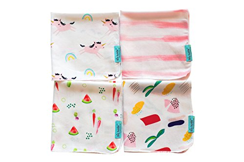 Baby Washcloth Set: Wash, Clean, Wipe (4 Design Pack) (Pinks)