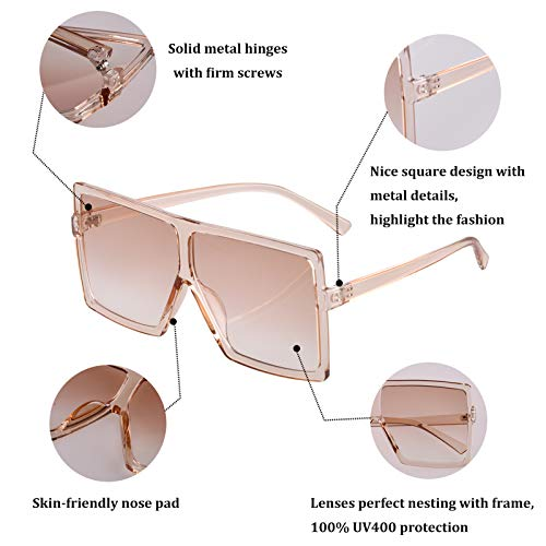 2 Pack Oversized Sunglasses Trendy for Unisex, UV Protection Square Lens, Ideal for Outdoor Activity Leisure Time (Black-Champagne)