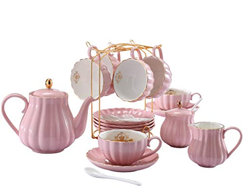 YoungQI Porcelain Tea Coffee Sets with Teapot Sugar Bowl Cream Pitcher Teaspoons and tea strainer for Tea/Coffee, Cups& Saucer Service for 6 (Pink)
