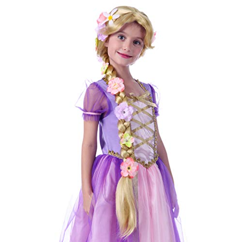 Rapunzel Halloween Costume With Wig (STYLER Long Straight Blonde Wigs for Kids - Princess Girl Wig for Halloween)