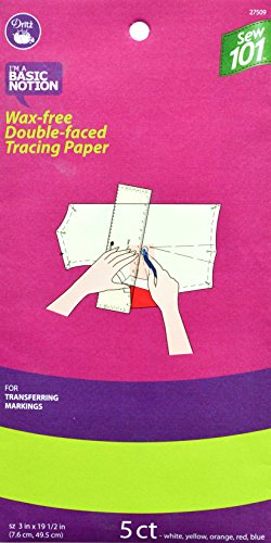 Dritz Sew 101 27509 Wax Free Double Faced Tracing Paper, 3 x 19-1/2-Inch, Assorted Colors - Wheel Tracing Double