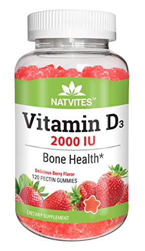 Natvites Vitamin D 2000IU Pectin Gummies for Adults 120 Count