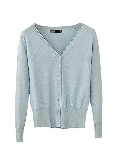 V en Cou Couleur Bouton Longues Cardigan Femme Bleu Gris Manteau Maille Unie Chale Manches tq6YgwX