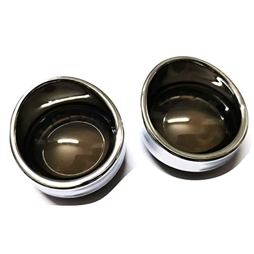 - Yibid Smoked Bullet Style Turn Signal Lens Chrome Trim Kit Bezels Ring Visor Covers for Harley Touring Dyna Softail Sportster V-Rod Street Glide Road King (2Pcs Chrome Trim/Smoke Lens)