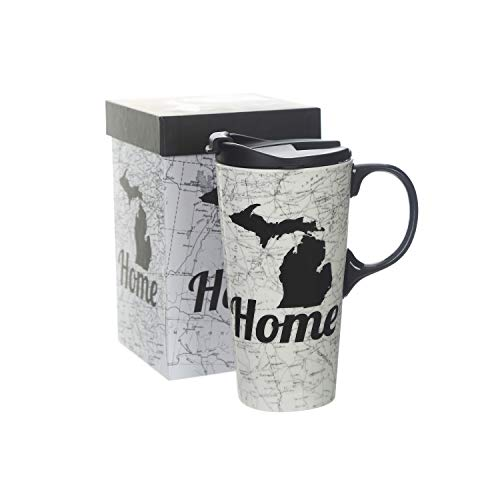 Ceramic Mug Porcelain Coffee Cup with Lid,Home Map