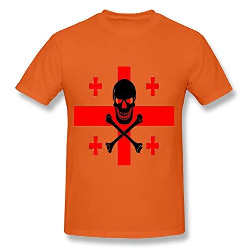 YILINGER Men's Cotton T-Shirt Georgian Flag Combined Black Pirate Image Jolly roge Orange