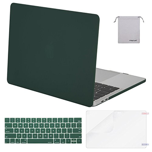 MOSISO MacBook Pro 13 Case 2018 2017 2016 Release A1989/A1706/A1708, Plastic Hard Shell & Keyboard Cover & Screen Protector & Storage Bag Compatible Newest Mac Pro 13 Inch, Peacock Green