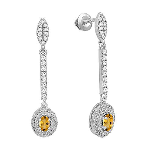 - Dazzlingrock Collection 10K 5X3 MM Each Oval Citrine & Round Diamond Ladies Halo Dangling Drop Earrings, White Gold