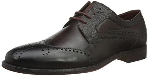 Bugatti  - Zapatos clásicos de cuero con cordones para hombre, color Negro, talla 40