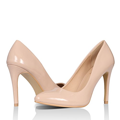 Yeviavy Women's High Heels Pumps Dress Pointed Toe Stiletto Fashion Classic Shoes Milla Beige Patent (4 Inch Sexy Classic Pump)