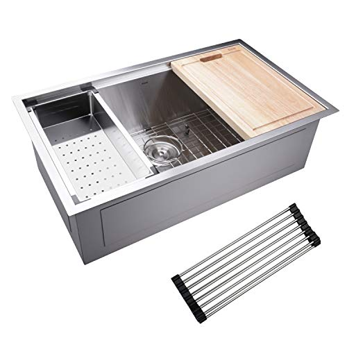 - Enbol ESD3018B 30x18 Inch Undermount Single Bowl Stainless Steel Kitchen Sink with Colander, Wood Cutting Board, Roll-up Rack, Bottom Grid and Strainer All in Deluxe Workstation Ledge