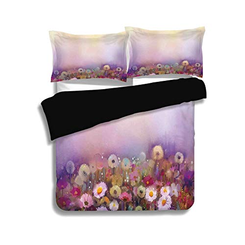 Black Duvet Cover Set Full Size,Watercolor Flower Home Decor,Bed with Different Blossoms Types Fresh Romantic Garden Paint,Lilac Pink,Decorative 3 Pcs Bedding Set by 2 Pillow ()