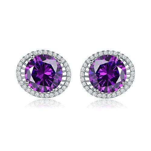 MASOP 10mm Round Cut Purple Cubic Zirconia Stud Earrings Silver (Purple Cubic Zirconia Stud)