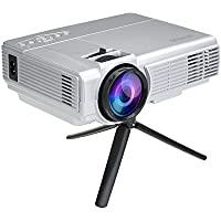 WIMIUS T3 1200 Lumens 100 inch LED Video Projector Mini Home Theater Projector 1080p HD iPhone iPad HDMI VGA USB AV Portable LCD Projector-Unique Silver