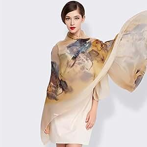 YQQ-bufanda Mujer Pintura De Tinta Imprimir 100% Seda Primavera Y Verano Otoño E Invierno Chal 140 * 184cm