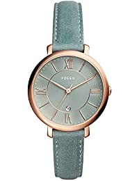 Women's 'Jacqueline' Quartz Stainless Steel and Leather Casual Watch, Color:Blue (Model: ES4273)