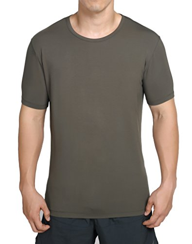 worboo Bamboo T-Shirt for Men, Breathable Soft Plain Mens Undershirts - Crew Neck (XX-Large,Army Green)