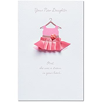 Amazon american greetings pink dress new baby girl american greetings pink dress new baby girl congratulations card with attachments m4hsunfo