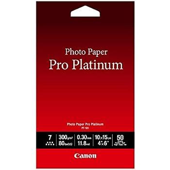 Canon Photo Paper Pro Platinum, 4 x 6 Inches, 50 Sheets (2768B014)