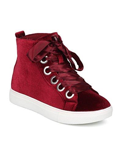 Alrisco Women Velvet Ribbon Lace Up High Top Sneaker - HF76 by Wild Diva Collection - Burgundy Velvet (Size: 8.5)
