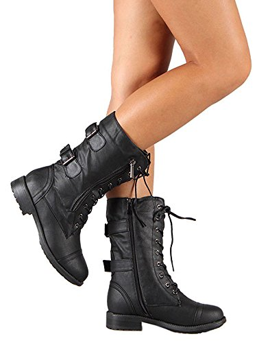 Ermonn Womens Lace up Calf Boots Faux Leather Side Zip Winter Combat Ankle (Leather Buckle Boot)