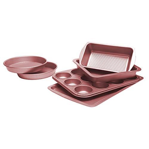 (Bakeware Set, TOPTIER 6 Piece Nonstick Baking Pan Sets with Cookie Baking Sheets, Muffin Pan, Loaf Pan, Round Cake Pan, Roasting Pan for Baking | Prime Housewarming & Wedding Gift, Rose Gold)