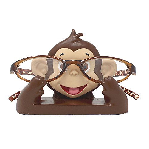 JewelryNanny Fun Animal Eyeglass Holder Stand for Kids Women - Securely Hold Kids Eyeglasses, Adult Reading Glasses Like Glasses Organizer for Desk, Bedside Nightstand - Monkey