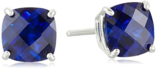 - Sterling Silver Cushion-Cut Checkerboard Created Blue Sapphire Stud Earrings (6mm)