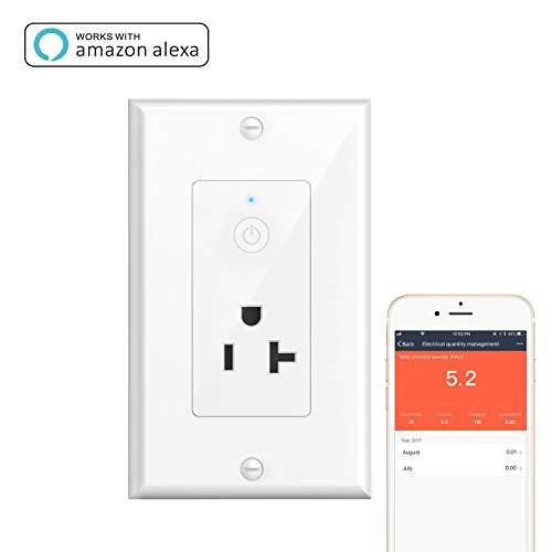 Smart Wall Outlet, Oittm Wi-Fi In-Wall 20Amp/15Amp Socket w/Energy Monitoring, Timing Function, Remote Control Your Devices Anywhere, Works with Amazon Alexa, Google Home