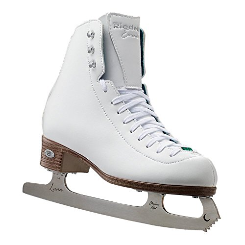 Girl Youth Recreational Ice Skates - Riedell Skates - 19 Emerald Jr. - Youth Recreational Figure Ice Skates with Steel Luna Blade for Girls | White | Size 2 Junior