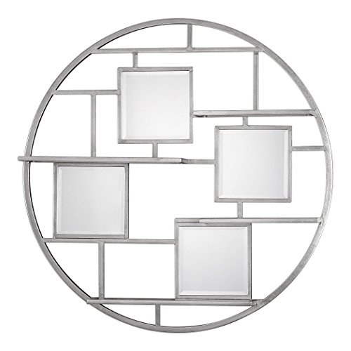 Art Deco Geometric Hanging Wall Shelf | Round Floating Mirrors Open Silver by My Swanky Home