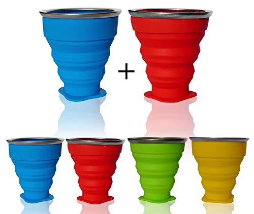 AVALEISURE Collapsible Silicone Travel Cup - The Genuine 10oz Foldable Drinking Mug with Lid, BPA Free, Water, Coffee, Tea, Snacks for Hiking, Camping, Picnic, Set of 2 Cups Blue + red