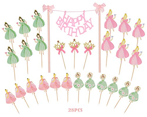 MEANT2TOBE Princess Birthday Cake Bunting Topper with Pink Bows and Straws with Pink Dress  Princess Girl Cupcake Toppers-Party Favors Birthday Party Decoration for Girls 28PCS ()