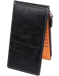 Women's RFID Blocking Leather Multi Card Organizer Thin Wallet with Zipper Pocket