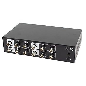 4 Way em 8 canais de saída de vídeo Amplificador Splitter Distribuidor Preto