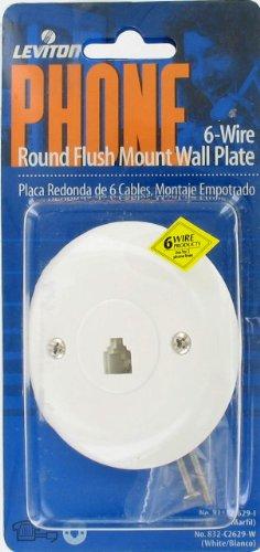 Leviton 6-Wire Round Flush Mount Wll Plate #C2629-W Qty 1 piece