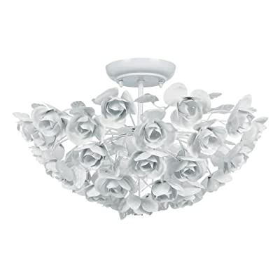 Crystorama Lighting Group 530 3 Light White Wrought Iron Semi Flush Mount Ceilin,