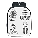 "iPrint Vogue Pressure Relief Spine Kids School Backpack,Quote,Collection of Summer Themed Typography Artworks with Beach Sunglasses Palm Pattern,Black Grey,for Kids,3D Print Design.13.0""x 9.8""x 5.9"""