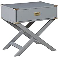 HOMES: Inside + Out Idf-AC801GY Tanadra Contemporary Side Table, Gray
