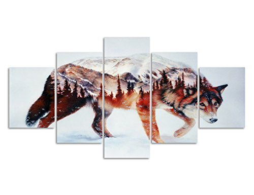 Animal Painting Wolf walking In The Snow In Winter Snow Mountain Forest View Wall Art For Home Decor Pictures For Living Room Wall Decoration New Year Gifts Set Framed Ready To Hang (60''W x 32''H) (Snow Winter Paintings)