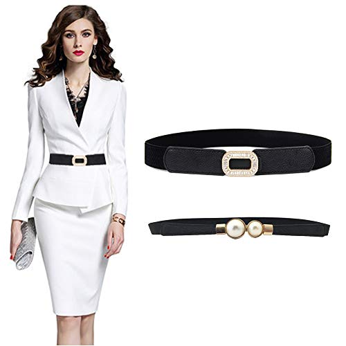 VITORIA'S GIFT Fashion Women Belt Solid Round Shape Buckle Waist Belt Casual Leather Belts for Women Strap Brand Classic Belt (Diamond-Pearl-2pcs) ()