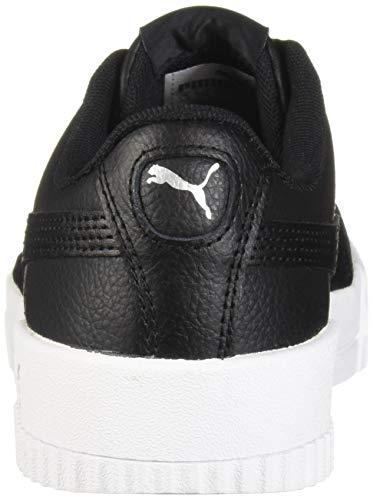 PUMA Women's Carina Sneaker, Black White Silver, 7 M US