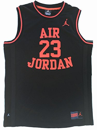 Nike Air Jordan Boys Mesh Jersey Shirt, (Black/Red, Size XL)