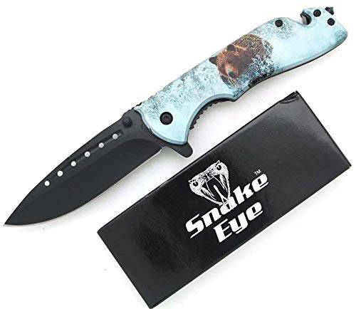 Rescue Cutter Bear - Snake Eye Tactical 3D Print Design Action Assisted Rescue Style Folding Knife Outdoors Hunting Camping Fishing (Bear)