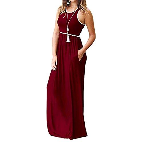 Casual Elegante JYC Fiesta Verano Vestir Camiseta Vestido Larga De con Boda La Redondo Bolsillo Largo Vestido Cuello Falda Maxi Largo Encaje Rojo Mujer Vestido rv7Rznr