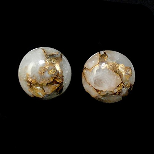 Copper Calcite Cabs Round 12mm Approximately 10.00 Carat Matched Pair (8373)