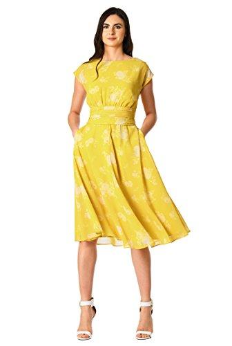 eShakti Women's Floral Print Pleated Empire Georgette Dress XL-16 Tall Citrine/White (Pleated Georgette)